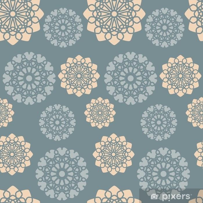 Vinyl Fotobehang Stoffig blauw en oranje roze bloemenpatroon. naadloze abstracte bloem achtergrond. vector - Grafische Bronnen