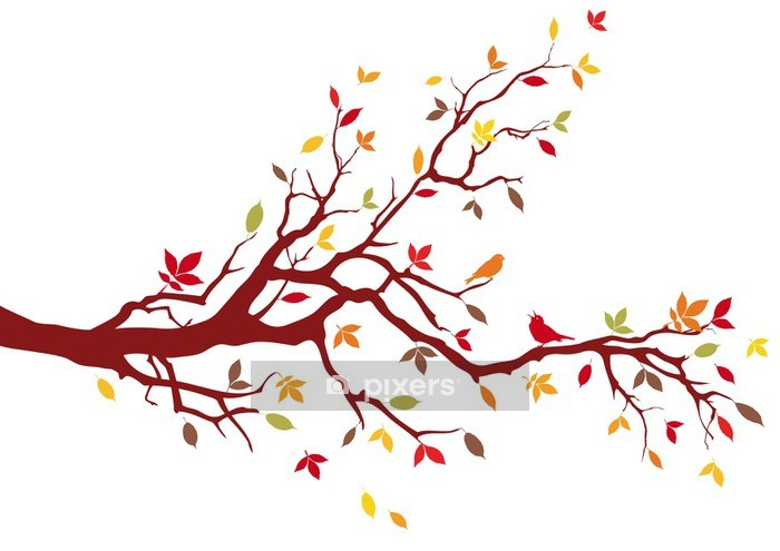 Sticker mural Arbre d'automne avec des feuilles colorées, vecteur - Sticker mural