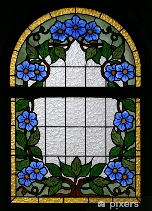 Naklejka Pixerstick Flowers kościół szkło okna 1 - Religie