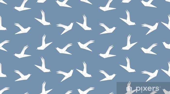 Papier Peint Modele Sans Couture D Oiseau Colombe Origami Sur Fond