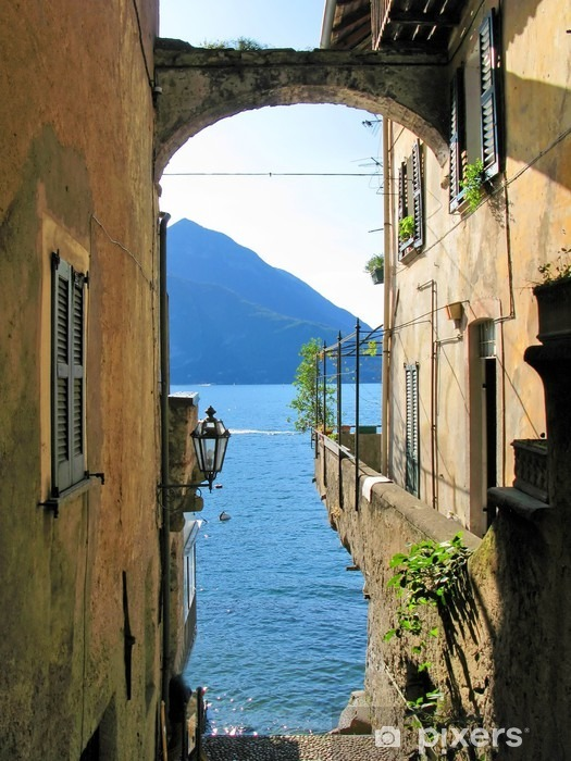Romantic view to the famous Italian lake Como from Varenna town Vinyl Wall Mural - Themes