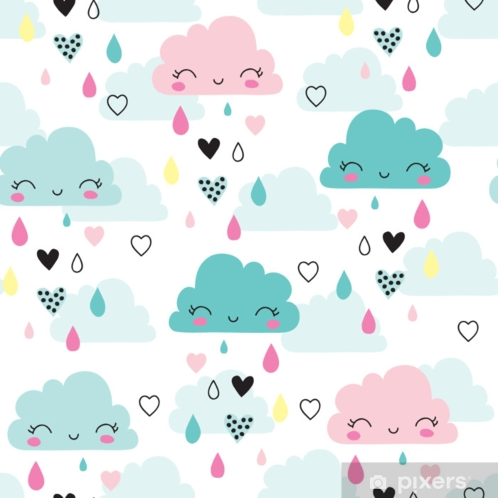 seamless smiling sleeping clouds pattern vector illustration Self-Adhesive Wall Mural - Landscapes