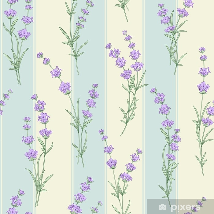Seamless pattern of lavender flowers on a tile background. Watercolor pattern with Lavender for fabric swatch. Seamless pattern for fabric. Vector illustration. Pixerstick Sticker - Buildings and Architecture