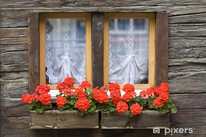 Aufkleber Fenster mit Blumenkasten - Pixerstick