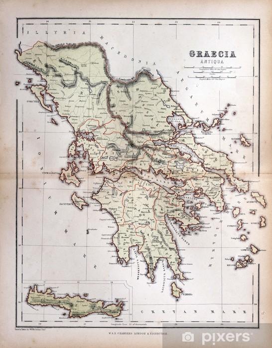 Karte Griechenland.Fototapete Alte Karte Von Griechenland 1870