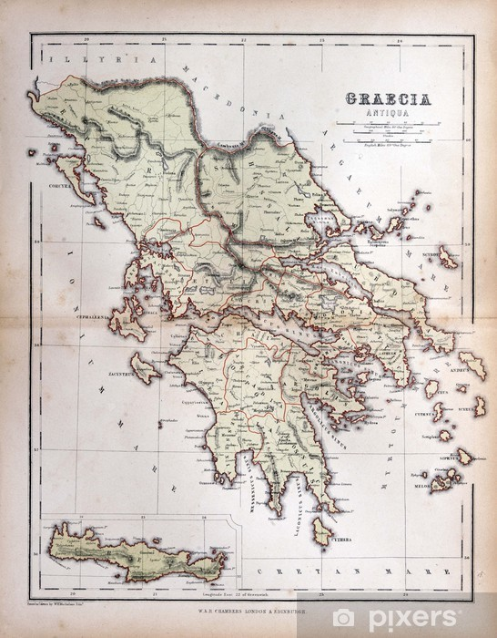 Vanha Kreikan Kartta 1870 Tapetti Pixers Elamme Muutoksille