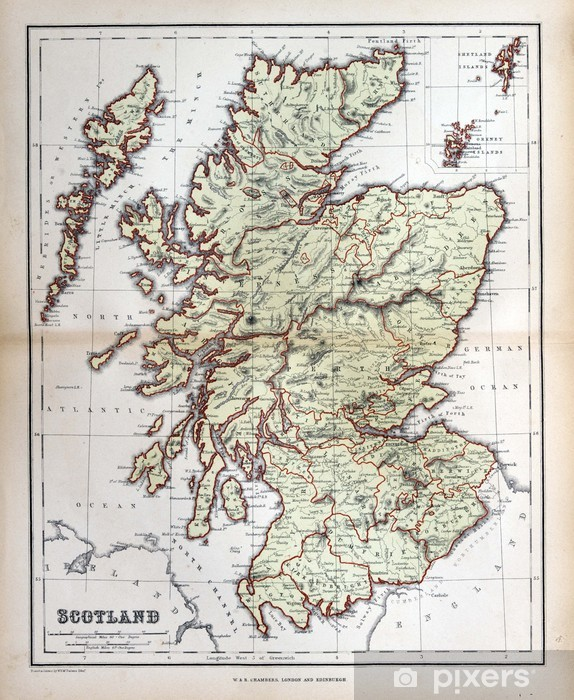 Old map of Scotland, 1870 Wall Mural - Vinyl