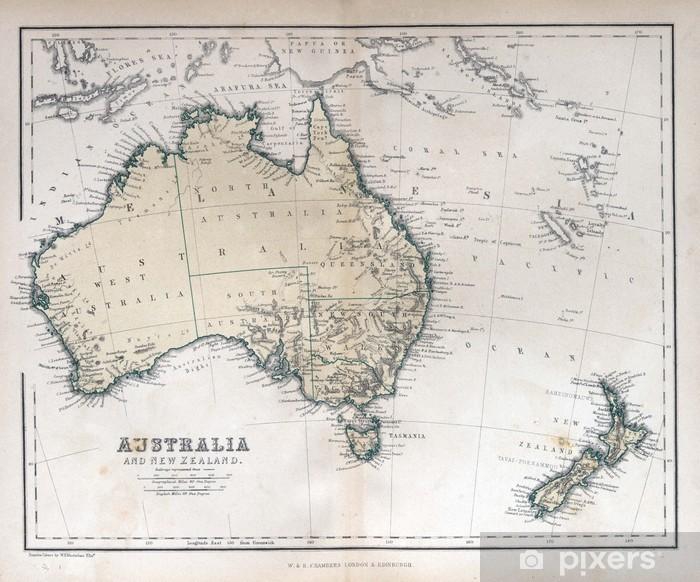 Gamle Kort Over Australien Og New Zealand 1870 Plakat Pixers