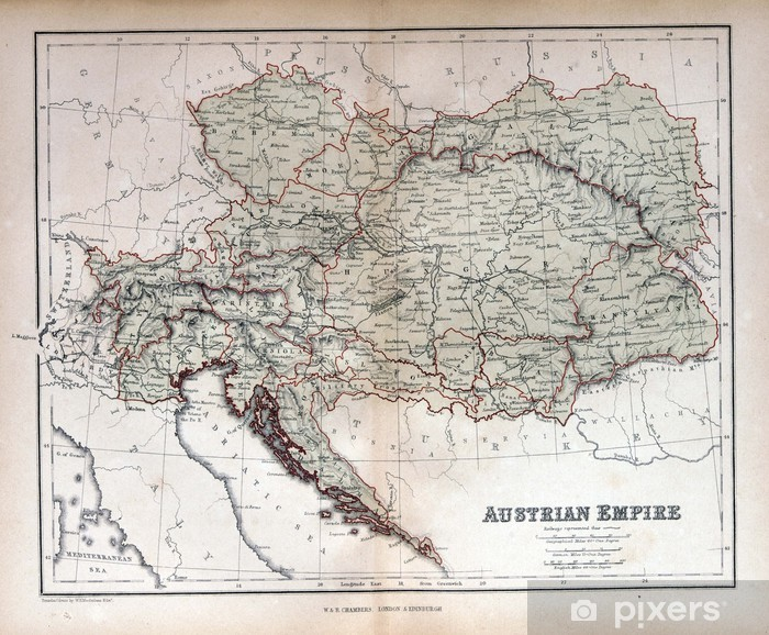 Gamle Kort Over Ostrig Ungarn Tjekkiet Slovakiet 1870 Fototapet