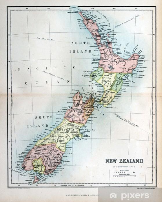 Gamle Kort Over New Zealand 1870 Fototapet Pixers Vi Lever