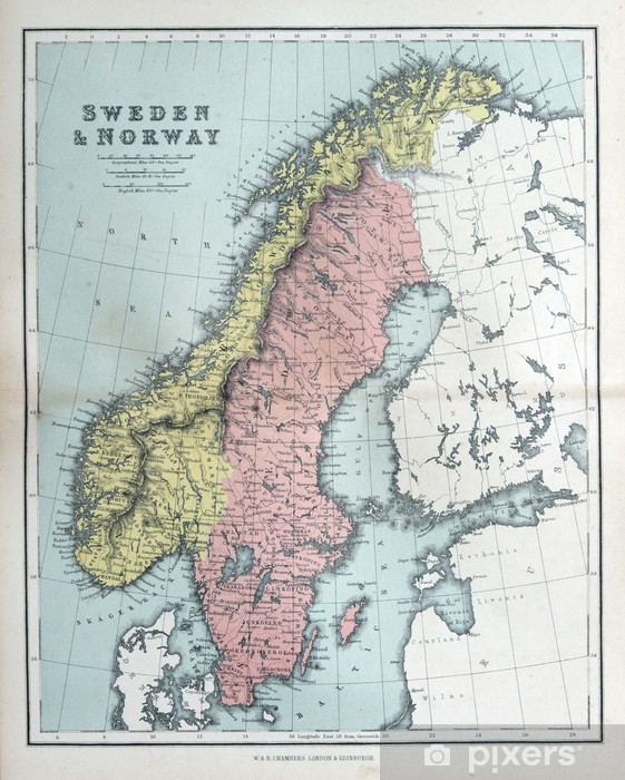 Karte Norwegen Schweden.Aufkleber Alte Karte Von Schweden Und Norwegen 1870 Pixerstick