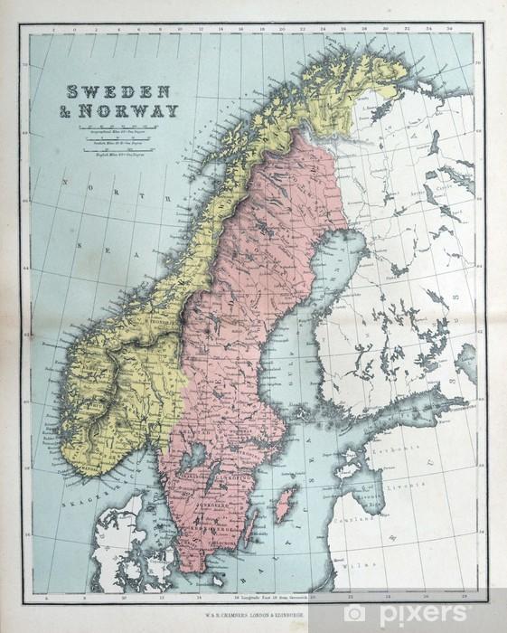Karte Norwegen Schweden.Fototapete Alte Karte Von Schweden Und Norwegen 1870