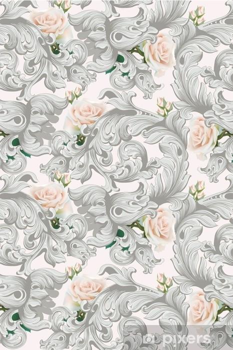 Naklejka Pixerstick Luksusowy rokokowy ornament z różami kwitnie tło wektor. delikatne, bogate imperialne elementy intricate. wiktoriański styl królewski - Rośliny i kwiaty
