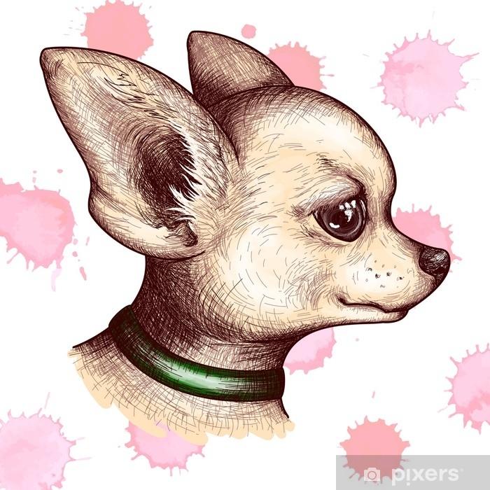 Zeichnung Kunstdruck Chihuahua 002 Tiere, Haustiere Hunde