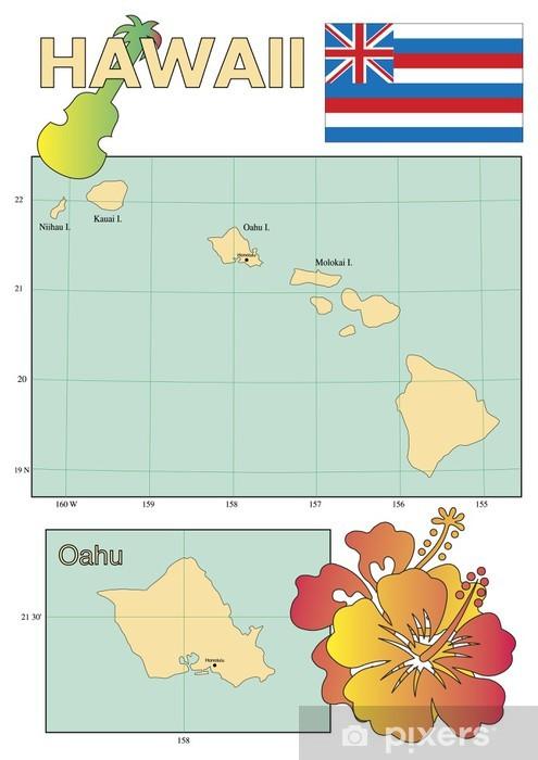 Kartta Hawaii Valtion Lipun Alla Tapetti Pixers Elamme