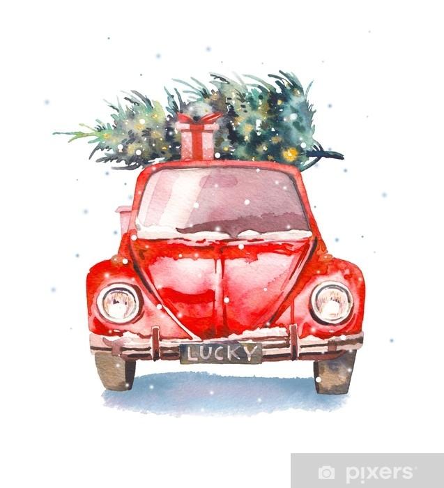 Fotobehang Kerstmis Illustratie Aquarel Retro Auto Met Geschenkdoos En Kerstboom Op De Top En Sneeuwvlokken Geisoleerde Winter Vakantie Object Op Witte Achtergrond Pixers We Leven Om Te Veranderen