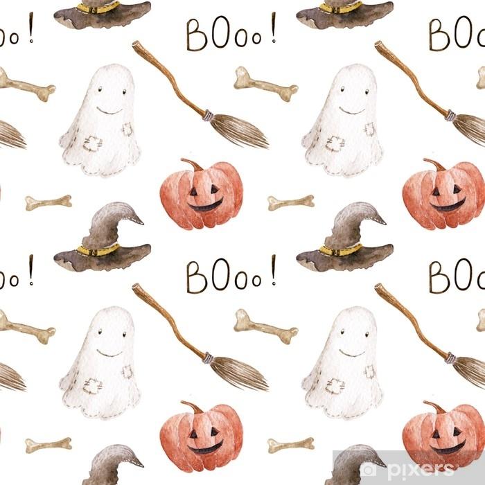 Plakat Akwarela halloween wzór na białym tle. ręcznie rysowane ilustracji. - Zasoby graficzne