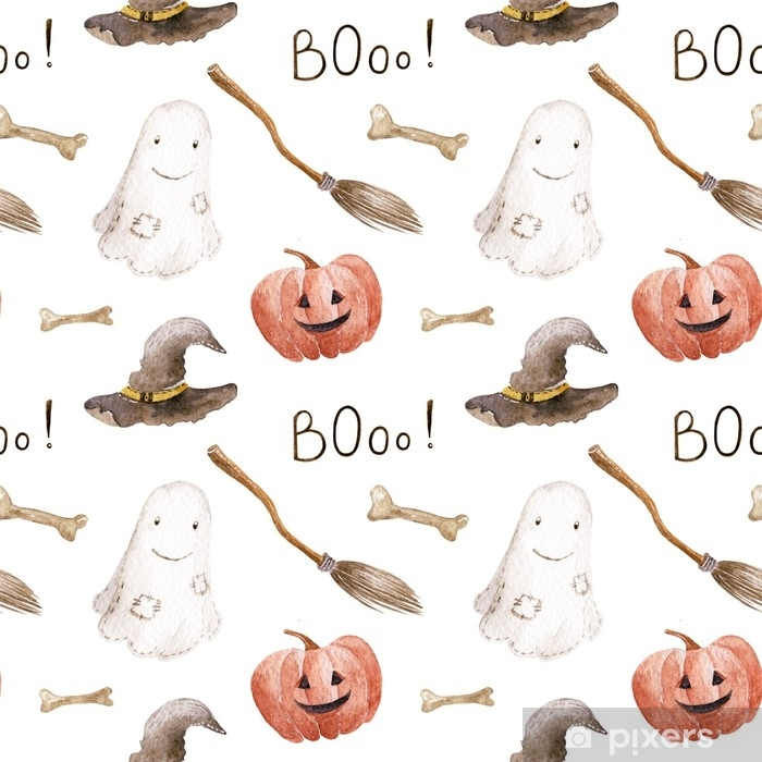 Poster Aquarell Halloween-Muster auf dem weißen Hintergrund. von Hand gezeichnete Illustration. - Grafische Elemente