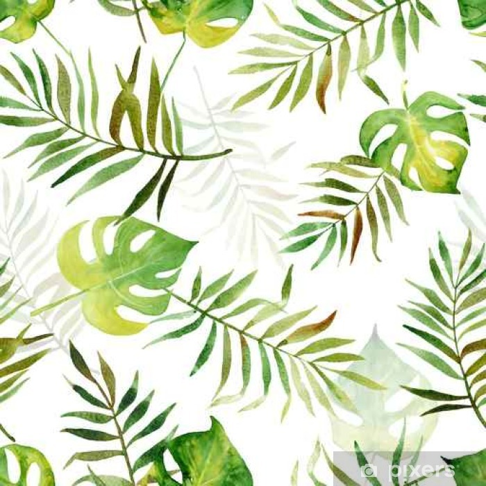 Vinyl Fotobehang Naadloze patroon met aquarel tropische bladeren. - Bloemen en Planten