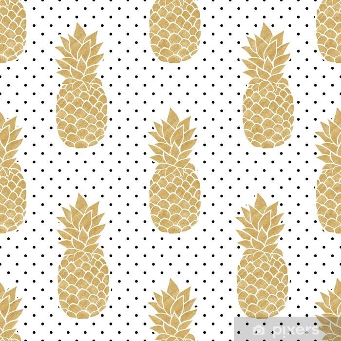 Vinylová fototapeta Bezešvé vzorek se zlatými ananasem na polkadot pozadí. černý bílý a zlatý ananasový vzor. letní tropické pozadí. - Vinylová fototapeta