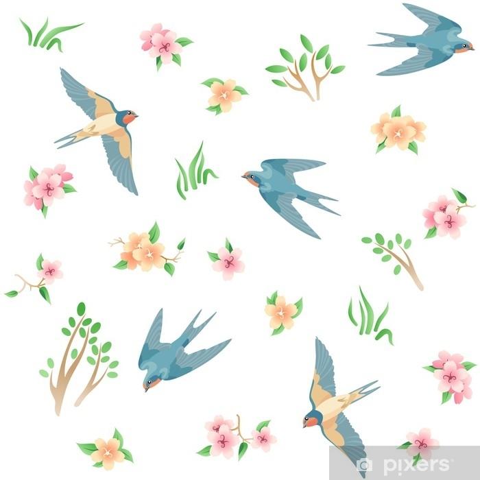 Sticker Pixerstick Modèle sans couture avec les oiseaux et les fleurs de printemps / il y a quelques hirondelles volantes, herbe, fleurs roses et jaunes - Animaux