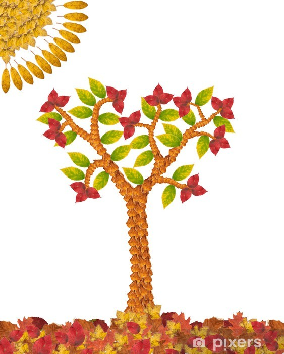 Collage of autumn tree made of leaves Pixerstick Sticker - Seasons