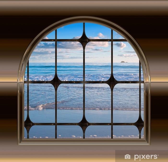 Fototapeta winylowa Beach przez okno - iStaging