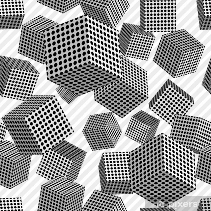 Pixerstick Sticker Naadloze kubussen, vierkanten, punten, zwarte cirkels, 3d, wit, halftone, patroon, textuur. strip - Grafische Bronnen