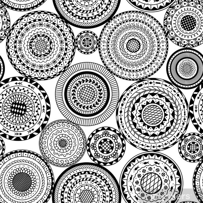 Vinilo Para Mesa Y Escritorio Vector Sin Patrón De Mandalas Redondos En Blanco Y Negro Fondo Decorativo Del Círculo Mandala Libro De Páginas Para