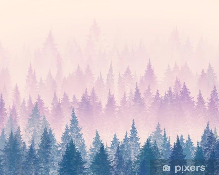 Carta da Parati in Vinile Foresta nella nebbia. illustrazione minimalista. disegno digitale. - Panorami