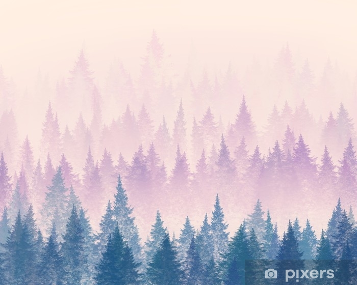 Vinyl Fotobehang Bos in de mist. minimalistische illustratie. digitale tekening. - Landschappen