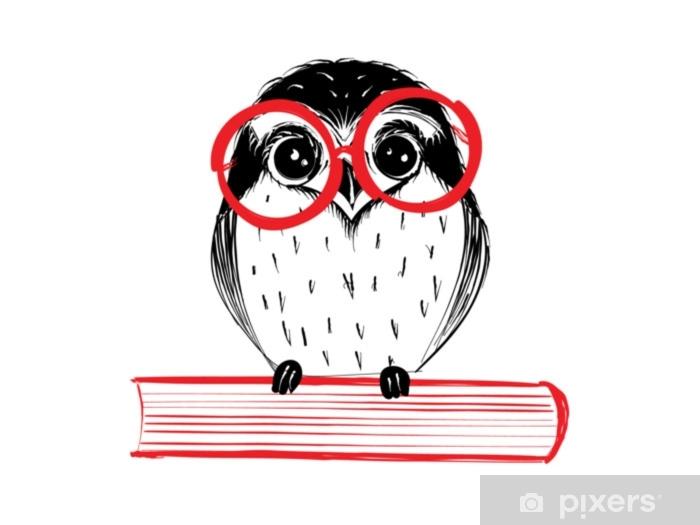 Naklejka Pixerstick Ładny ręcznie rysowane sowa z czerwonego szkła siedzi na książki - ilustracja wektorowa - Styl życia