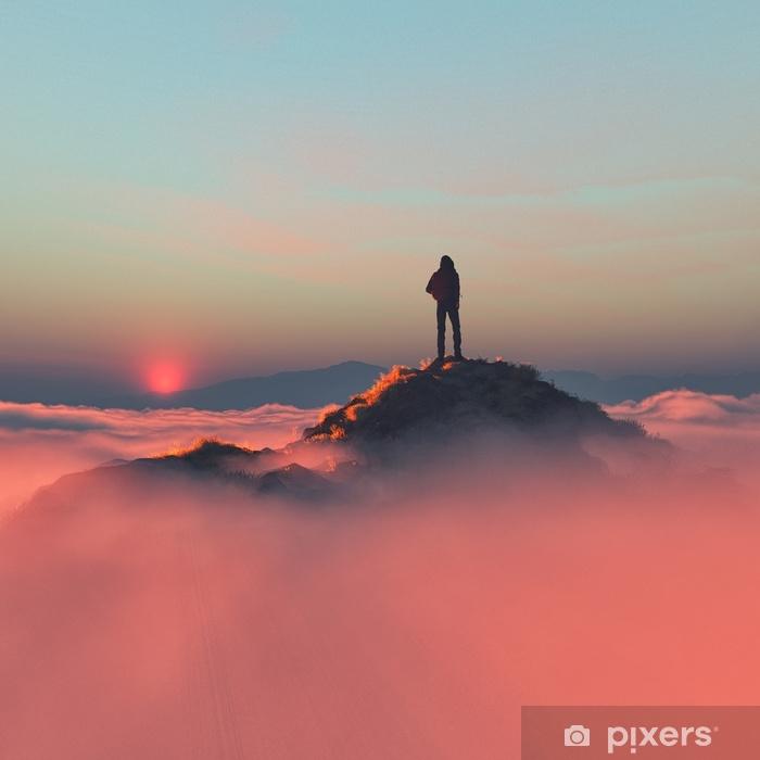 Pixerstick Sticker Toerist met rugzak op de berg - Mensen