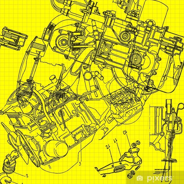 Pixerstick Sticker Technische tekening achtergrond 3 - Industrieel