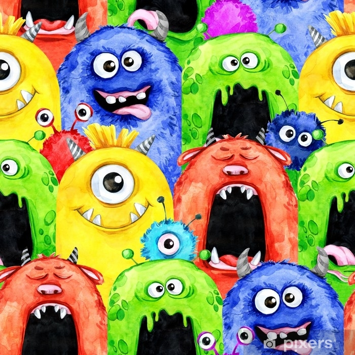 Watercolor seamless pattern with funny monster heads. Celebration illustration. Cartoon horror party. Funny beasts. Baby background. Can be use in holidays, birthday design, posters, card. Vinyl Wall Mural - Graphic Resources