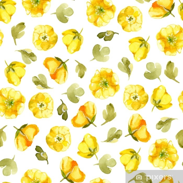 Seamless Pattern Of Watercolor Yellow Flower Isolate On White