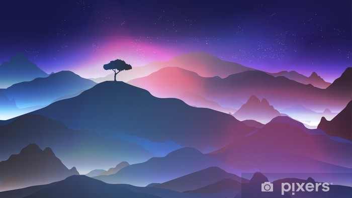 Paysage avec seul arbre de nuit Papier peint photo budget 43320772 papier