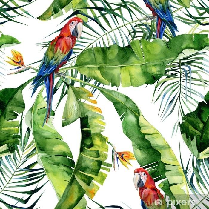 Plakat Bez szwu akwarela ilustracja tropikalnych liści, gęsta dżungla. papuga ara szkarłatny. kwiat strelitzia reginae. malowane ręcznie. wzór z motywem tropic summertime. liście palmy kokosowej. - Zasoby graficzne