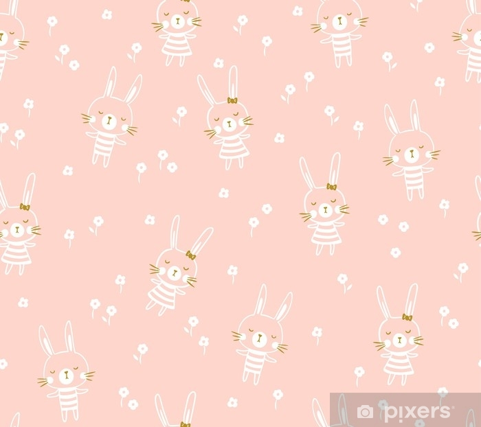 Easter seamless pattern design with bunnies. Light baby print for child fabric or gift paper. Vector illustration. Self-Adhesive Wall Mural - Graphic Resources