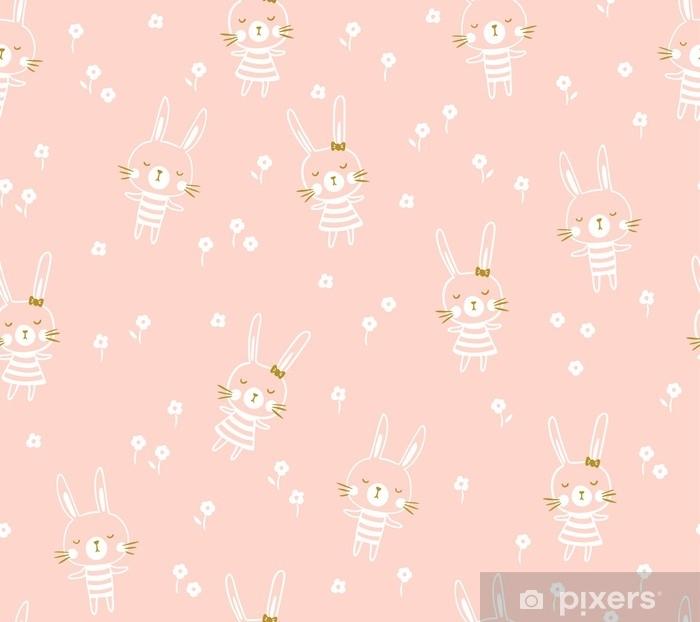 Sticker pour table Lack Modèle sans couture de Pâques avec des lapins. imprimé bébé clair pour tissu enfant ou papier cadeau. illustration vectorielle - Ressources graphiques