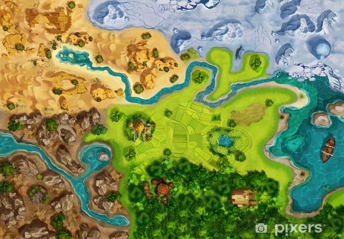 Naklejka Pixerstick Mapa gry, plansza, widok z góry. styl średniowieczny. grafiki wideo cg grafiki, ilustracja kolorowy koncepcja, realistyczne tło stylu cartoon - Krajobrazy