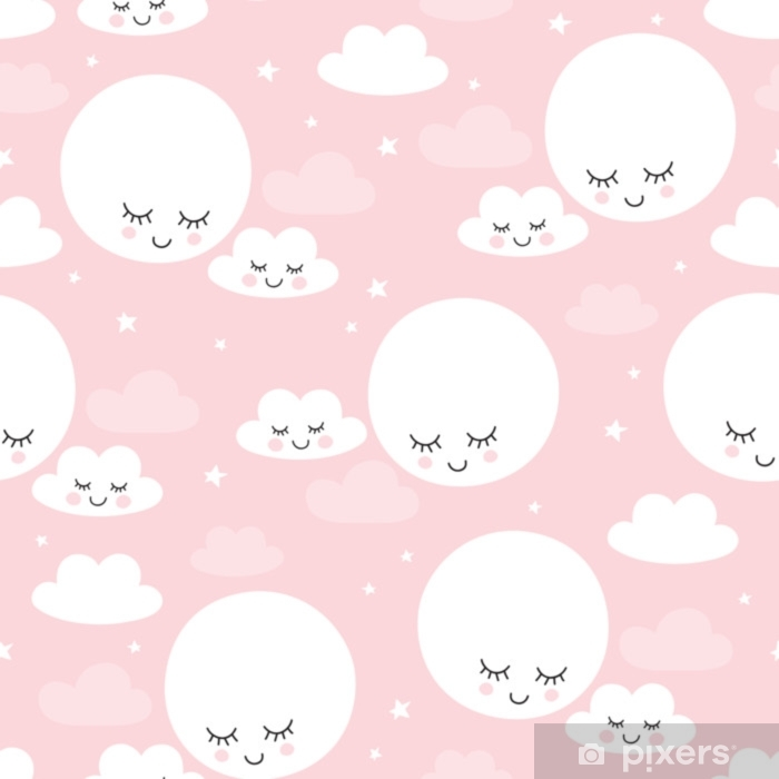 seamless moons and clouds pattern vector illustration Vinyl Wall Mural - Landscapes