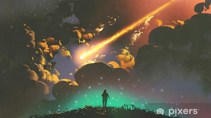 Vinyl-Fototapete Nachtlandschaft eines Jungen, der den Meteor im bunten Himmel, digitale Kunstart, Illustrationsmalerei schaut - Landschaften
