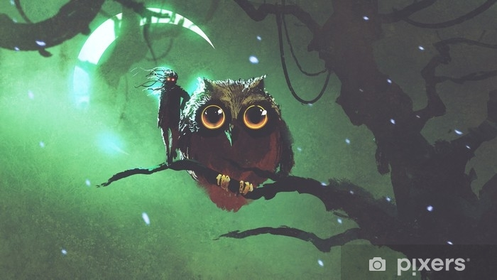 Sticker Pixerstick Le hibou géant et son propriétaire debout sur une branche dans la forêt de nuit avec ciel vert, style art numérique, illustration numérique - Animaux