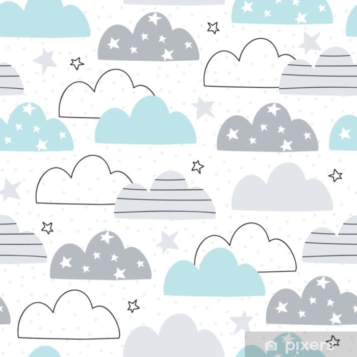 seamless clouds pattern vector illustration Self-Adhesive Wall Mural - Landscapes