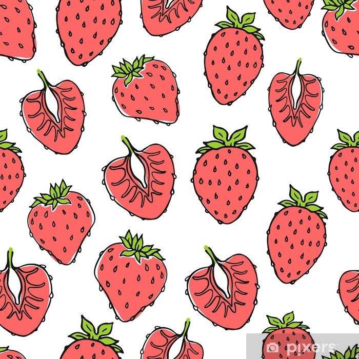 Sticker Pixerstick Modèle de nature transparente avec croquis de fruits. fond de vecteur rouge avec des fraises. nourriture tropicale. - Nourriture
