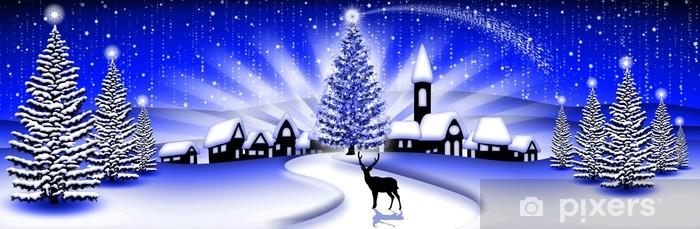 Paesaggio Natale Blu Christmas Landscape Paysage Noël Banner Wall Mural Vinyl