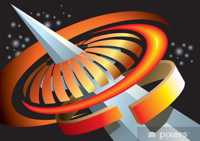 Abstract space background, concentric composition, vector Pixerstick Sticker - Outer Space