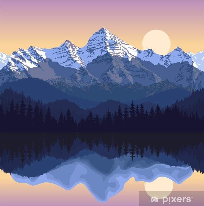 Sticker Pixerstick Illustration vectorielle - lac dans les montagnes - Paysages