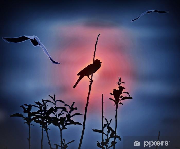 Sticker Pixerstick Oiseaux au coucher du soleil; Résumé - Oiseaux